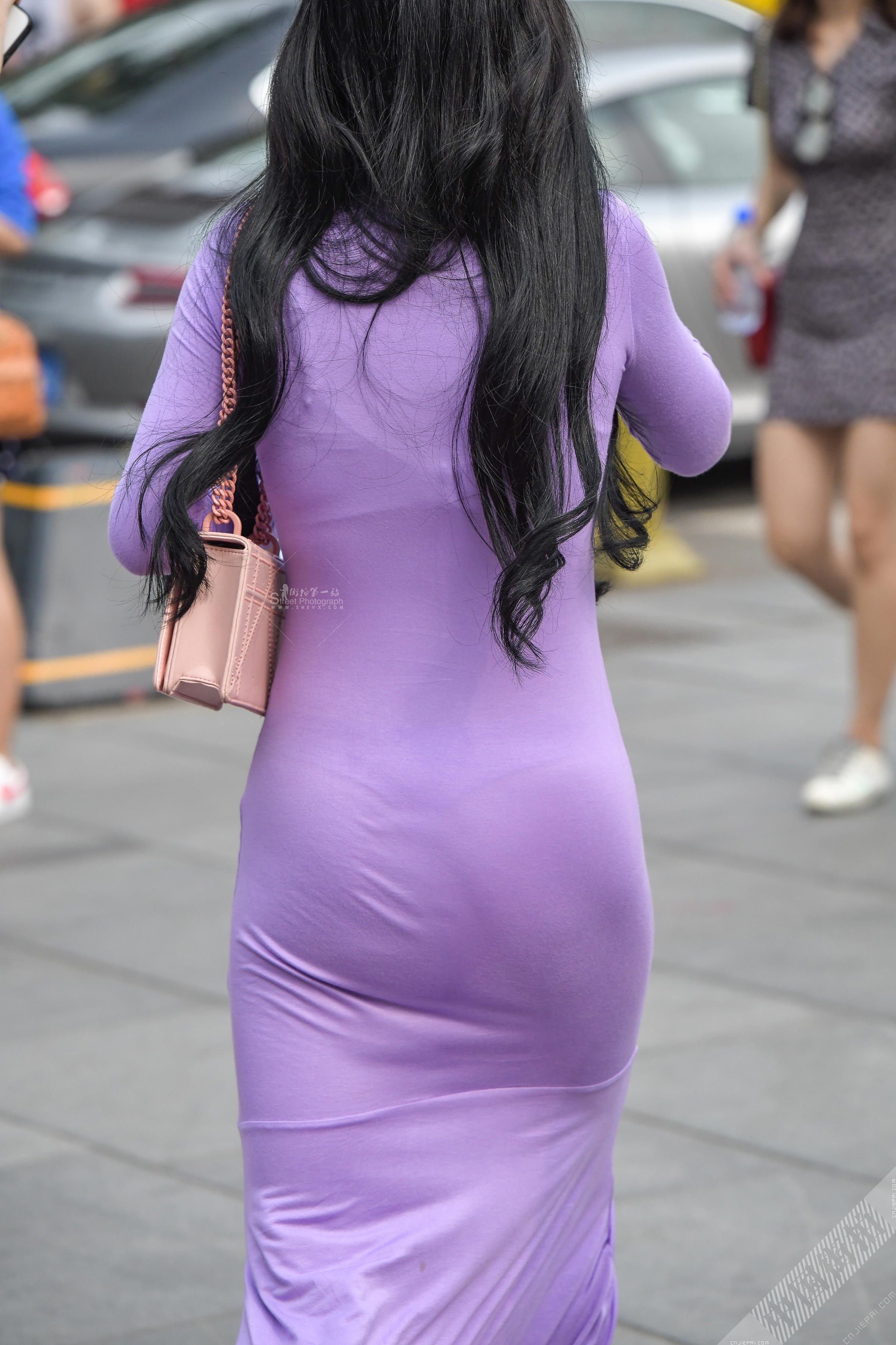 紫色贴身长裙长发美女,大胸美臀超高回头率 图16